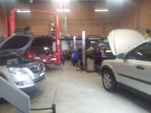 European cars in the workshop